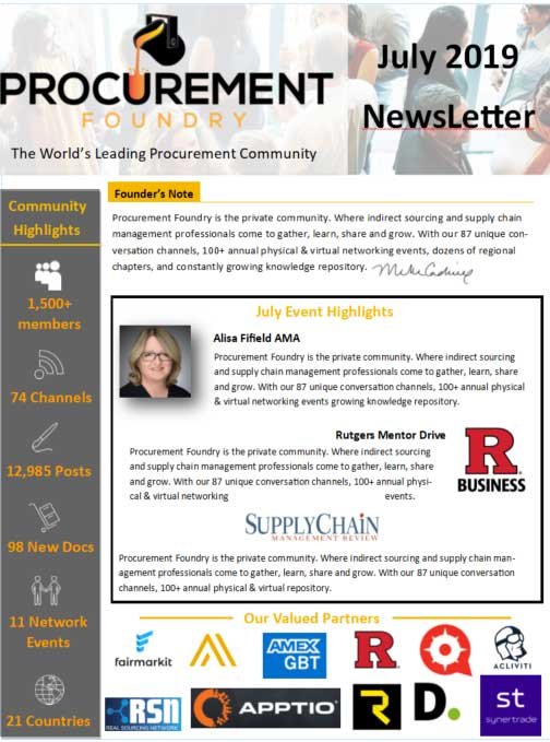 Procurement Foundry Newsletter - July 2019